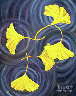 Golden Ginkgo Leaves On Gray  Poster by Laura Iverson
