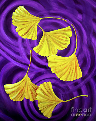 Golden Ginkgo Leaves On Purple Poster by Laura Iverson