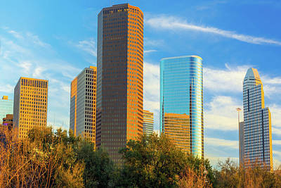 Golden Hour On The Downtown Houston Texas Skyline Poster