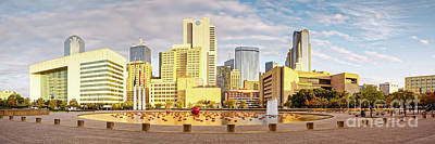Golden Hour Panorama Of Downtown Dallas Skyline From City Hall - North Texas Poster by Silvio Ligutti