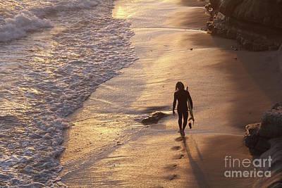 Golden Hour Swamis Beach Encinitas California Poster by Linda Queally