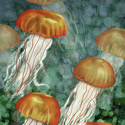 Golden Jellyfish In Green Sea Poster
