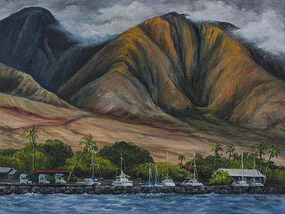 Poster featuring the painting Golden Light West Maui  by Darice Machel McGuire