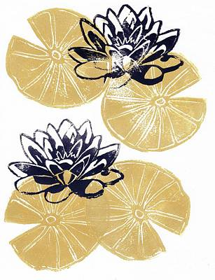 Golden Lily Pads Poster