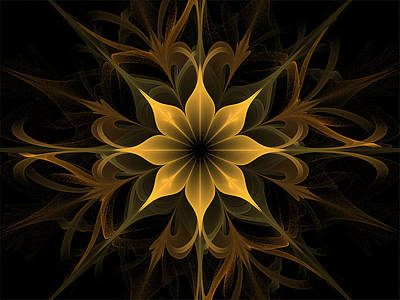 Golden Lotus Swirls Poster