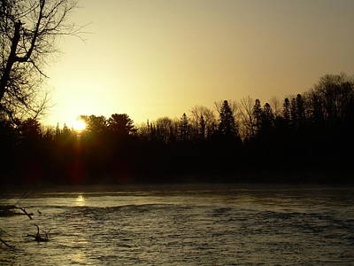 Poster featuring the photograph Golden Mississippi River Sunrise by Kent Lorentzen