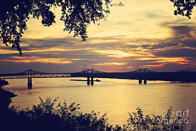 Golden Mississippi River Sunset Poster