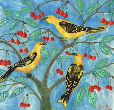 Golden Orioles In A Cherry Tree Poster by Sushila Burgess