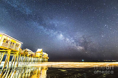 Golden Pier Under The Milky Way Version 1.0 Poster