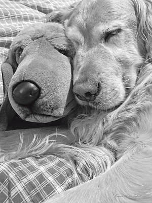 Golden Retriever Dog And Friend Poster by Jennie Marie Schell