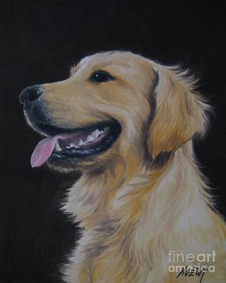 Poster featuring the painting Golden Retriever Nr. 3 by Jindra Noewi