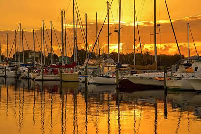 Golden Sailboat Sunrise Over Stuart Marina, Florida Poster