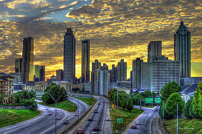 Poster featuring the photograph Golden Skies Atlanta Downtown Sunset Cityscape Art by Reid Callaway