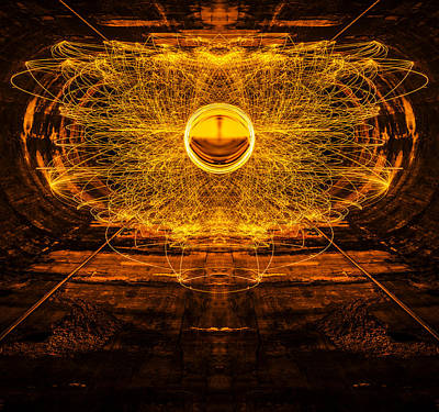 Golden Spinning Sphere Reflection Poster by Pelo Blanco Photo