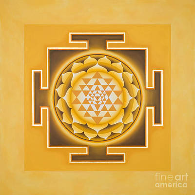 Golden Sri Yantra - The Original Poster by Piitaa - Sacred Art