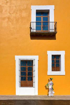 Golden Streets Of Puebla Mexico Poster