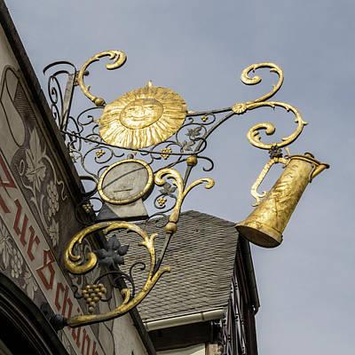 Golden Sun Sign Rudesheim Poster by Teresa Mucha