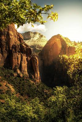 Golden Sunrise In Zion Canyon National Park Poster by Susan Schmitz