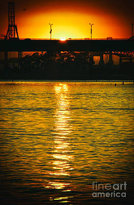 Poster featuring the photograph Golden Sunset Behind Bridge by Mariola Bitner