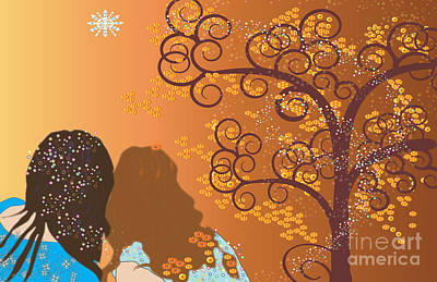 Poster featuring the digital art Golden Swirl Girls by Kim Prowse