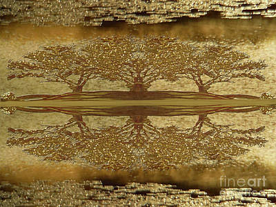 Golden Trees Reflection Poster