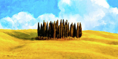 Poster featuring the mixed media Golden Tuscan Landscape Artwork by Mark Tisdale