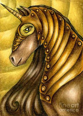 Golden Unicorn Warrior Art Poster