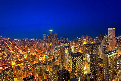 Golden Valleys - Chicago Aerial View At Dusk Poster