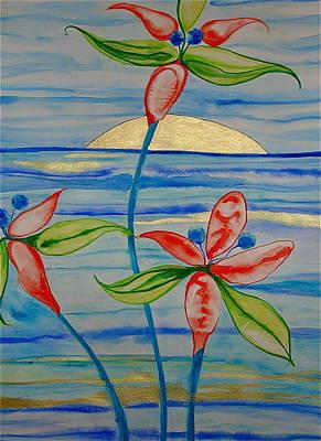 Poster featuring the painting Golden Waikiki Sunset by Erika Swartzkopf