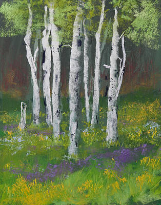 Goldenrod Among The Birch Trees Poster by David Patterson