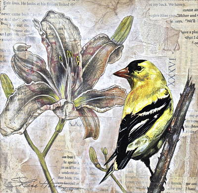 Goldfinch And Lily Poster by Sheri Howe