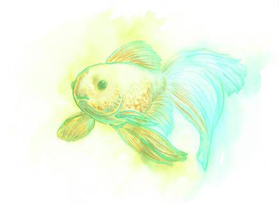 Goldfish, Blue Poster by Nicole Hanusek