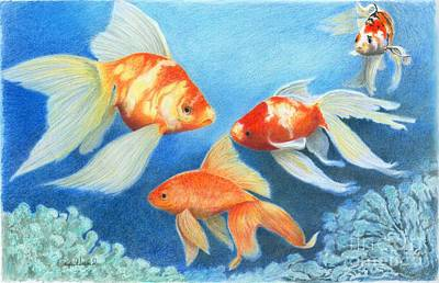 Poster featuring the drawing Goldfish Tank by Phyllis Howard