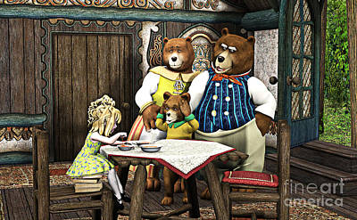 Goldilocks N The 3 Bears Poster by Methune Hively