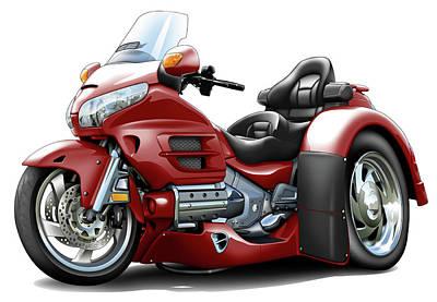 Goldwing Maroon Trike Poster
