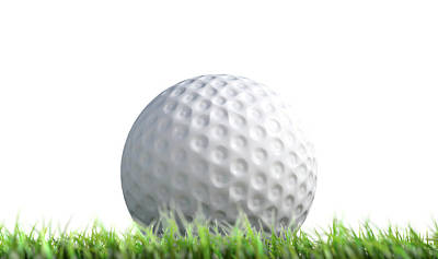 Golf Ball Resting On Grass Poster