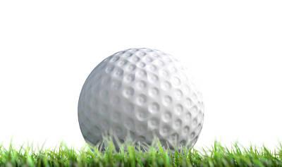 Golf Ball Resting On Grass Poster