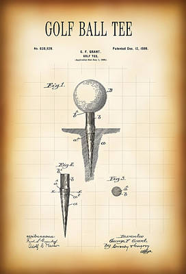 Golf Ball Tee Patent  1899 Poster by Daniel Hagerman