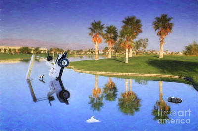 Poster featuring the photograph Golf Cart Stuck In Water by David Zanzinger