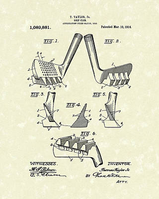 Golf Club 1914 Patent Art Poster by Prior Art Design