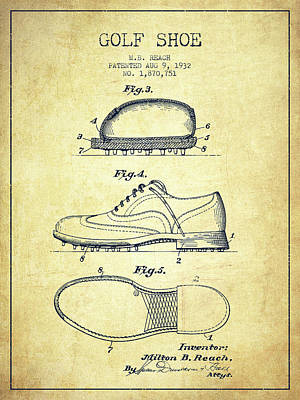 Golf Shoe Patent Drawing From 1931 - Vintage Poster