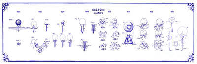 Golf Tee History Patent Drawing Blueprint Poster by Jon Neidert