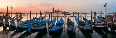 Poster featuring the photograph Gondola And San Giorgio Maggiore Island Panorama by Songquan Deng