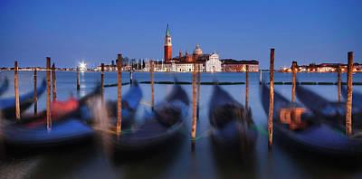 Poster featuring the photograph Gondolas And San Giorgio Maggiore At Night - Venice by Barry O Carroll