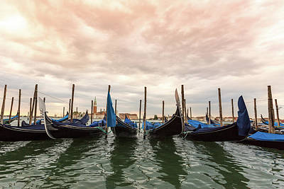 Poster featuring the photograph Gondolas In Venice by Melanie Alexandra Price