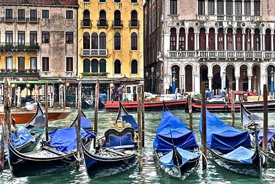 Gondolas On The Grand Canal Poster by Frozen in Time Fine Art Photography