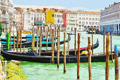 Gondolas On The Grand Canal Venice Italy Poster