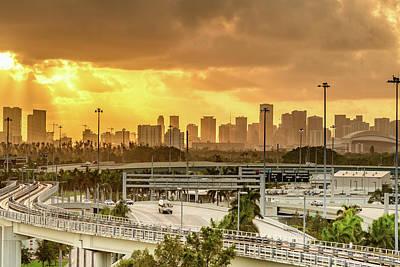 Miami City Sunrise Poster