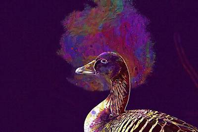 Poster featuring the digital art Goose Bird Wild Goose  by PixBreak Art