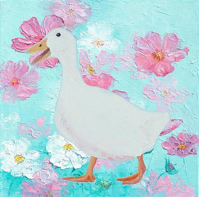 Goose On Floral Background Poster by Jan Matson